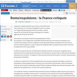 Roms/expulsions : la France critiquée