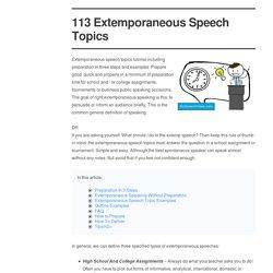 113 Extemporaneous Speech Topics