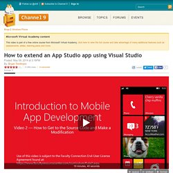 How to extend an App Studio app using Visual Studio
