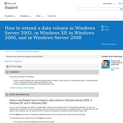How to extend a data volume in Windows Server 2003, in Windows XP, in Windows 2000, and in Windows Server 2008