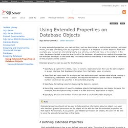 Using Extended Properties on Database Objects
