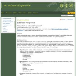 Extended Response - Ms. McGraw's English Wiki