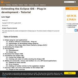 Extending the Eclipse IDE - Plug-in development