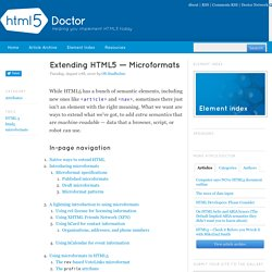 Extending HTML5 — Microformats