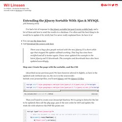 Extending the jQuery Sortable With Ajax & MYSQL ~ Wil Linssen