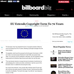 EU Extends Copyright Term To 70 Years