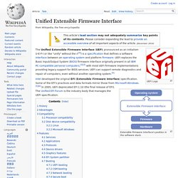 Unified Extensible Firmware Interface