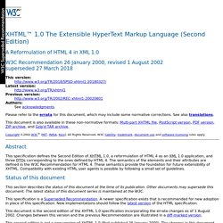 XHTML 1.0: The Extensible HyperText Markup Language (Second Edition)