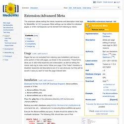 Extension:Advanced Meta