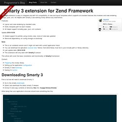 Smarty 3 extension for Zend Framework / PHP open source snippets / Blog