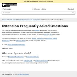Extension Frequently Asked Questions
