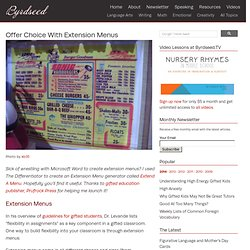 Extension Menus for Gifted Lesson Plans