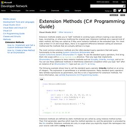Extension Methods (C# Programming Guide)