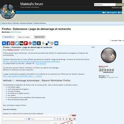 Firefox : Extensions / page de démarrage et recherche : Tutorials Windows