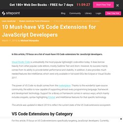 10 Must-have VS Code Extensions for JavaScript Developers