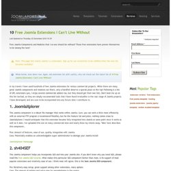 10 Free Joomla Extensions I Can't Live Without | Joomla Extension Reviews | Joomlaport