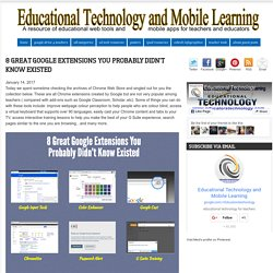 Educational Technology and Mobile Learning: 8 Great Google Extensions You Probably Didn't Know Existed