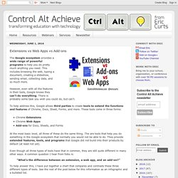 Extensions vs Web Apps vs Add-ons