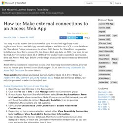 How to: Make external connections to an Access Web App