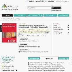 L'externalisation: quels impacts pour les professionnels de l'information-documentation?