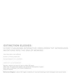 Extinction Elegies : 2011 : Jhave