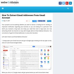 How To Extract Email Addresses From Gmail Account