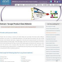 Extract Product Data, Product Data Extractor, Extract Data from Ecommerce Website