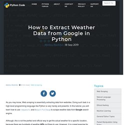 How to Extract Weather Data from Google in Python - Python Code