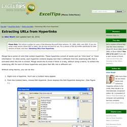Extracting URLs from Hyperlinks