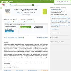 Electronic Commerce Research and Applications - Concept extraction and e-commerce applications