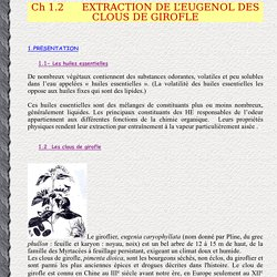 EXTRACTION DE L'EUGENOL DES CLOUS DE GIROFLE