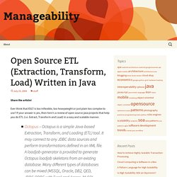 Open Source ETL (Extraction, Transform, Load) Written in Java
