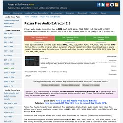 Pazera Free Audio Extractor 1.1 - Extract audio tracks from video files - FLV to MP3, AVI to MP3, AVI to WAV, AVI to WMA - Jacek Pazera