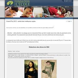 Grand Prix 2012 : extrait des meilleures copies-Fondation pour l'Ecole