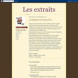 """""""La disparition"""" de Georges Perec"""