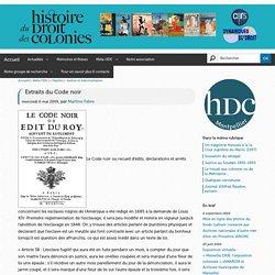 Extraits du Code noir — Histoire du Droit des colonies à Montpellier