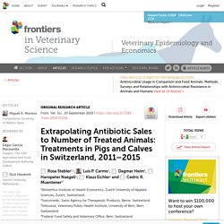 FRONT. VET. SCI. 20/09/19 Extrapolating Antibiotic Sales to Number of Treated Animals: Treatments in Pigs and Calves in Switzerland, 2011–2015