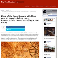 Blood of the Gods, Humans with blood type Rh Negative belong to an Extraterrestrial lineage according to new theory