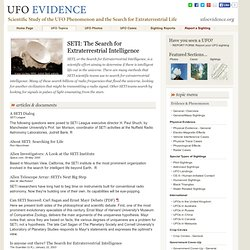 UFO Evidence : SETI: The Search for Extraterrestrial Intelligence
