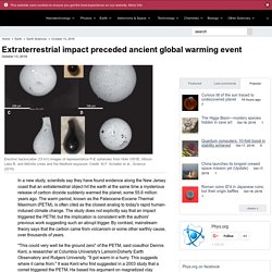 Extraterrestrial impact preceded ancient global warming event