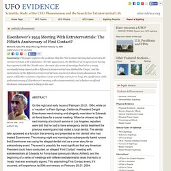 Eisenhower's 1954 Meeting With Extraterrestrials: The Fiftieth Anniversary of First Contact?