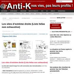 Les sites d'extrème droite (Liste hélas non exhaustive) - Anti-K