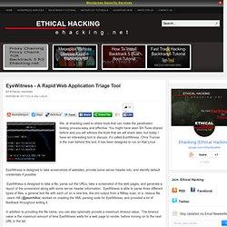 EyeWitness - A Rapid Web Application Triage Tool