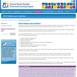 EYLF Myths and realities NQS PLP