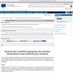 EUROPE- Fiche : Contrôles officiels des aliments pour animaux et des denrées alimentaires