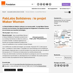 FabLabs Solidaires : le projet Maker Women