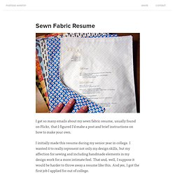Sewn Fabric Resume | Melissa Makes Things – Graphic Design