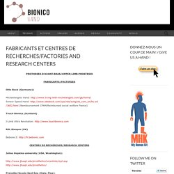 Fabricants et centres de recherches/Factories and research centers