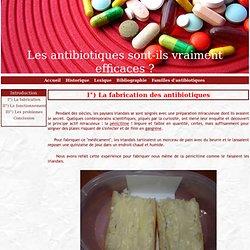 I°) La fabrication des antibiotiques - Les antibiotiques sont-ils vraiment efficaces ?