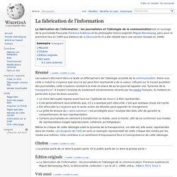 La fabrication de l'information